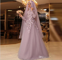 Wholesale sequins hijab - 2017 Muslim Long Sleeves Hijab Prom Dresses High Neck Beads Appliques Vestidos Arabic Prom Dress Long Tulle Custom Made Cocktail Party Gowns