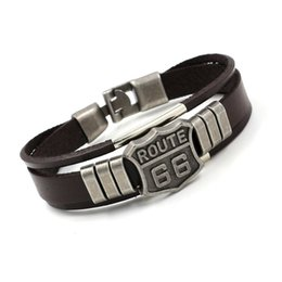 Wholesale Wholesale Customized Jewelry - Classic Fashion ROUTE 66 Rivet Charm Bracelets Punk Retro Multilayer Leather Bracelets For Men Women Customize Cuff Bangles Jewelry Gifts