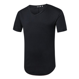 Wholesale Online T V - Online shopping solid black colour t shirt men 2017 V neck M~XXL latest t shirt designs for men