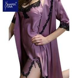 Wholesale Two Pieces Lingerie - Wholesale- Two Piece Robe Sets New newest and fashion sexy silk bathrobes gowns robes lingerie for women two pieces nightdress sleepwear