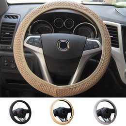 Wholesale 38cm Steering Wheel Covers - Universal leather Elastic Handmade Skidproof Steering Wheel Cover 3 Colors Car Auto 36 38cm 1PC