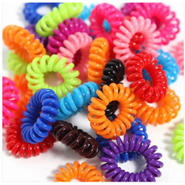 Wholesale Telephone Wire Hair Tie - Wholesale- 30pcs lot Telephone Wire Line Gum Elastic Ring Hair Styling Tools For Girl Rope Hair Accessories Spiral Shape Hair Tie Key Ring