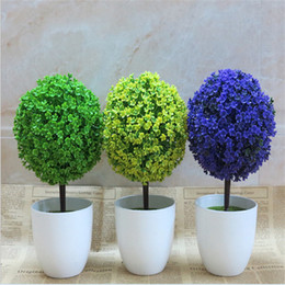 Wholesale Ornamental Flower Pots - Green Ceramic Vase Artificial Potted Home Decoration Ornamental Desktop Plants Cherry Tree Snowball Simulation Classic Bedroom