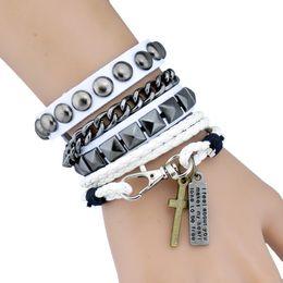 Wholesale Wholesale Stainless Steel Charm Letters - Handmade Leather Bracelets Set Punk Style 2pcs Set Rivet Cross Charm Bracelet For Hip Hop Nightclub Party Men Women Jewelry