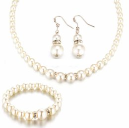 Wholesale Fine Pearl Earrings - 2016 New Simulated Pearl Wedding Jewelry Set Crystal Necklace Fine Jewelry Party Women Beads Bridal Earrings Accessories