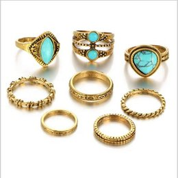 Wholesale 14k Gold Knuckle Ring - 8pcs set New Turquoise Rings sets for Women antique multi shapes & sizes joint rings gold plated knuckle rings sets New Fashion Jewelry