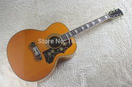 Wholesale Deluxe Acoustic Guitar - Wholesale-2015 New + Factory + Chibson SJ200 Deluxe acoustic guitar tiger maple J200 electric acoustic super Jumbo SJ200 artist Acoustic
