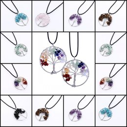 Wholesale Stone Silver Pendant Designs - Tree Of Life Pendant Necklace Unique 7 Design Handmade Natural Gem Stone Jewelry Charm Crystal Pendants Jewelry For Women Free DHL L6