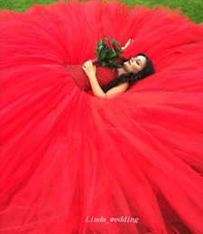 2020 turquía vestidos de novia rojo Vestido de novia de color rojo de Turquía de alta calidad Vestido de fiesta Tul Vestido de fiesta nupcial occidental para mujer Tallas grandes turquía vestidos de novia rojo baratos