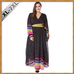 Plus la Taille 7XL Longue Maxi Dress Mode Femmes Coloré Polka Dot Ceintures Flare Longue Partie Mousseline de Soie Robes V Cou Plage Casual Dress ? partir de fabricateur