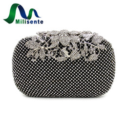 Wholesale Diamond Studded Handbags - Wholesale- Milisente Women Rhinestone Handbag Studded Flower Evening Diamond Bags Lady Wedding Party Clutches Purse Silver Gold Black Small