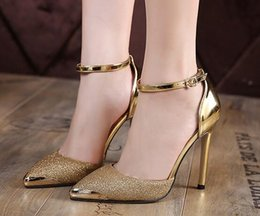 Wholesale Glittery Gold Dresses - Thin High Heels Women Pumps Sexy Glittery Leather Bright Mental Gold pointed Toe Shoes Mixed Color Gold Silver