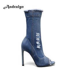 Wholesale Ladies Shoes Zipper - Andralyn fashion shoes women high heels boots sexy peep toe denim zipper mid-calf Cowboy boots sewing casual ladies ankle boots