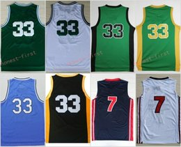 Wholesale College Basketball Usa - 33 Larry Bird Indiana State Sycamores Throwback College Jerseys 1992 USA Dream Team High School Green White Stitched With Name Size S-3XL