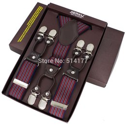 Wholesale Suspender Straps - Wholesale-2016 fashion braces leather 6 clips suspenders bretelles Adjustable Belt Strap ligas Tirantes with gift box 3.5*115cm 7 colors