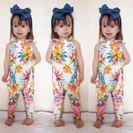 Wholesale Jumpsuit For Girls Shorts - New Baby Romer Summer Girl Floral Romer Flower Jumpsuit For 0~24 Year Baby 4 p l