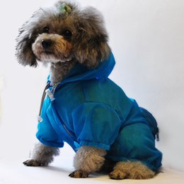 Wholesale Large Dog Raincoats - Pet Supplies Dog Nylon Raincoat Soft Comfort Dogs Clothes Waterfproof Sun UV Protection Cloth Blue Green Pink Colors 6 Sizes