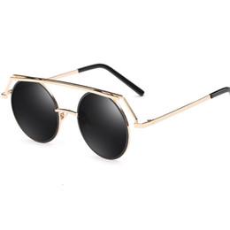 Gafas de sol de forma redonda al por mayor online-2017 gafas de sol del marco redondo de la forma de la vendimia para las mujeres y los hombres marco de metal con las lentes de espejo reflexivas precio al por mayor