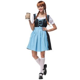 Wholesale Carnival Girl Costume - Carnival Bavarian Tradition Oktoberfest Cotton Dresses Embroidery Maid Costume Collar Pattern Color Stitching Strap Yarn Skirt Girl Dress