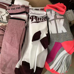 Wholesale Yoga Cotton Socks - Love vs Pink Socks Fashion Women Sports Sock Victoria Knee High Socks Sports socks secrets sock DHL shipping A080