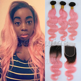 Wholesale 4x4 Swiss Lace Closure - Doriswigs 8A Brazilian Virgin Human Hair Body Wave 3 Bundles With Closure 4x4 Swiss Lace #T1B Light Pink Ombre Color 2 Tone