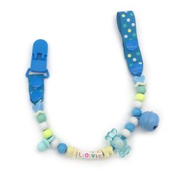 Wholesale Name Beads Wholesale - Wholesale-Personalised -Any name Hand made funnyr rose red beads dummy clip dummy holder pacifier clips soother chain for baby