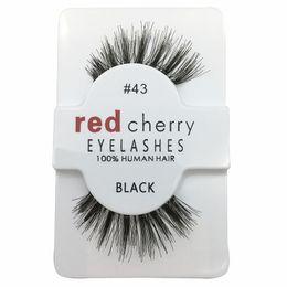 Wholesale Wholesale Wings Human Hair - RED CHERRY False Eyelashes Natural Long Eye Lashes Extension Makeup Professional Faux Eyelash Winged Fake Lashes Wispies