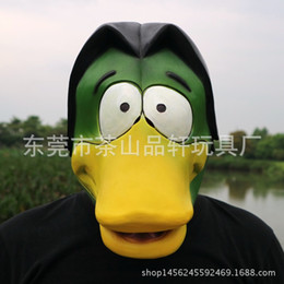 Wholesale Novelty Rubber Ducks - Cute Animal Mask Deluxe Novelty Latex Rubber Creepy Funny Yellow Duck Head Mask Halloween Party Cosplay Costume Decorations