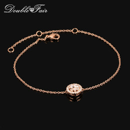 Wholesale Crystal Chain For Jewelry Making - Micro insert Cubic Zirconia 18K Rose Gold Plated Chain Bracelets Jewelry Made with Genuine Austrian Crystals For Women Gift Wholesale DFH189