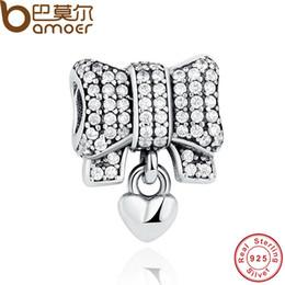 Wholesale Diy Amps - BAMOER Authentic 925 Sterling Silver Knot Heart Charm Fit Original Bracelet amp Necklace DIY Accessories PAS244