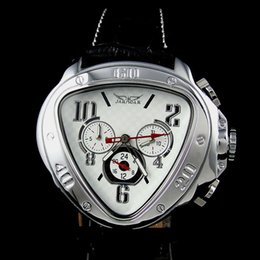 Wholesale White Glass Mens Watch - New arrvial Mens Fashion white dial Unique triangle AUTOMATIC MECHANICAL Watch