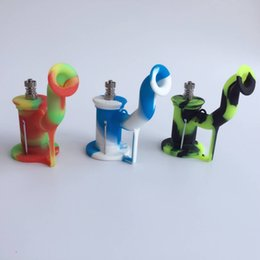 Wholesale Wholesale Water Containers - DHL Free Shipping Silicone Water Pipe 9 colors smoking hookah pipes concentrate oil dab rig with 5ml container and titanium nail