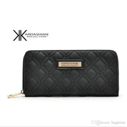 portefeuilles kardashian Promotion Nouveau Blanc Noir Kk Portefeuille Longue Design Femmes Portefeuilles En Cuir PU Kim Kardashian Kollection High Grade Clutch Bag Zipper Coin Purse