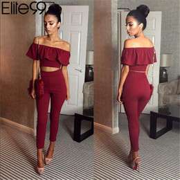 Wholesale Womens Piece Pant Suits - Elite99 Casual Women Suits Sexy Two Piece Outfits Girls Crop Top And Long Pants 2 Piece Women Set Bodycon Suit Womens Clothing