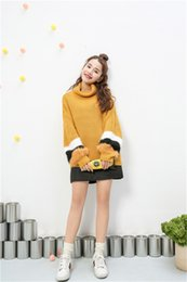 Wholesale Code Sweaters - 2016 Contrast Color Plush Sweate Fashion High Neck Sweet Girl Loose Larger Code Sweater Lady Pullover Sweatshirts