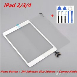 Wholesale Digitizer Sticker Ipad - For iPad 2 3 4 Touch Original Screen Digitizer Assembly with Home Button + 3M Adhesive Glue Stickers + Camera Holder +Tools Repair Parts