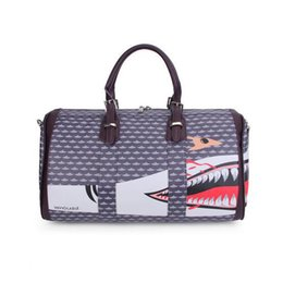 Wholesale Printed Hand Bags - New Style Shark's Mouth Short-distance Hand-Held Travel Bag PU Leather Waterproof Printing Handbag Female Large Capacity Travel Bag