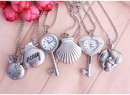 Wholesale Carved Mice - Wholesale- Hot Keychain Pearl Girls Necklace Silver Chain Key Holder Pocket Watch Crystal Shells rabbit mouse Carving Case Cute Pendant