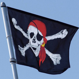 Wholesale Bones Bandana - Jolly Roger Pirate Flag Cross bone Skull Banner Flags Bandana Polyester Halloween party bar club haunted mansion decor 3X5 ft event supplies