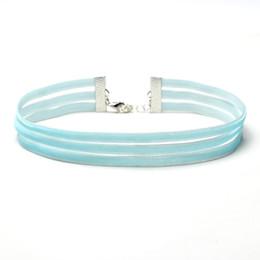 Wholesale Faux Suede Necklace - Women Gothic Handmade Necklace Vintage Punk Multilayer Faux Suede Choker Collar blue white colorful Short Necklace YR130