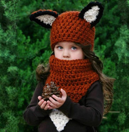 Wholesale Cute Scarves For Kids - Children Fox Ear Winter Windproof Cute Hat Baby Knitted Hats and Scarf Set For Kids Boys Girls Shapka Caps