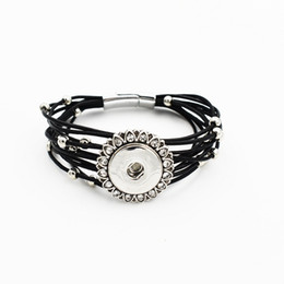 Wholesale Rhinestone Beads Fit Bracelet - Fashion Rhinestone Sunflower Leather With Beads Snap Bracelet Fit 18MM Button Snap Charms Jewelry