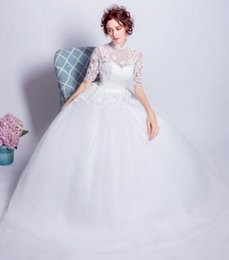 Wholesale Chinese Maternity Fashion - New Arrival Hot Sale Fashion Luxury Princess Organza Lace White Fairy Super Sweet Chinese Style Collar Lace Ball Gown Bridal Wedding Dress