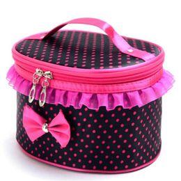 Wholesale Makeup Bag Bow - Wholesale- Portable Women Cosmetic Bag Lace Bow Dot Print Travel Toiletry Makeup Storage Organizer Make up Holder Handbag Box Beauty Case