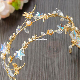 Wholesale Dragonfly Hair - Star Wedding Crowns Flower Crystal Hair Jewelry 2017 Dragonfly Sparkly Rhinestones Tiaras Crowns Bridal Hair Accessories Headband Headpieces