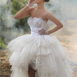 Wholesale White Asymmetrical Skirt - Fashion Modern High Low Bridal Party Dresses Ball Gown 2017 Strapless Applique Lace Tulle Tiers Garden Wedding Dress Bandage Back