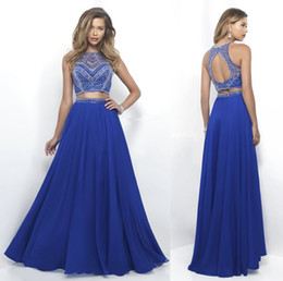 Wholesale Sapphire Blue Ivory - 2017 Sapphire Blue Prom Dresses Jewel Neck A Line Floor Length Beading Appliques Sleeveless 2016 Sexy Long Two Pieces Evening Gowns
