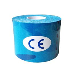 Wholesale Camouflage Adhesive Tape - Wholesale- Hot Kinesiology Tape Sports Tape Cotton Elastic Adhesive Muscle Bandage Care Physio Strain Injury Support Blue camouflage