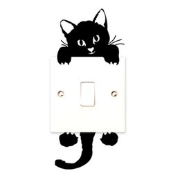 Wholesale Cute Light Wallpaper - Wholesale- 2017 DIY Funny Cute Black Cat Switch Decal Wallpaper Switch Sticker Home Decoration Bedroom Kids Room Light Parlor Decor