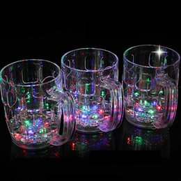 Wholesale Luminous Cross - Led Cup Glass Flashing Shot Glass Led Plastic Luminous Neon Cup Birthday Party Night Bar Wedding Beverage Wine flash cup OTH406